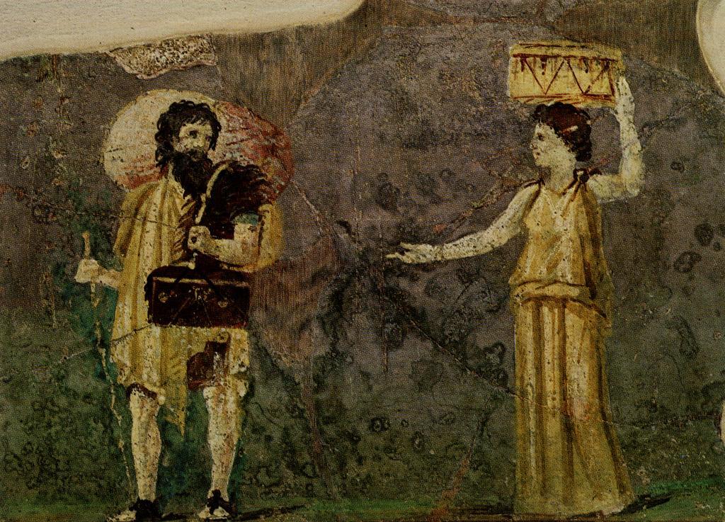 Pintura mural que muestra el Cínico filósofos Cajas y Hiparchia. Desde el jardín de la Villa Farnesina, el Museo delle Terme, Roma